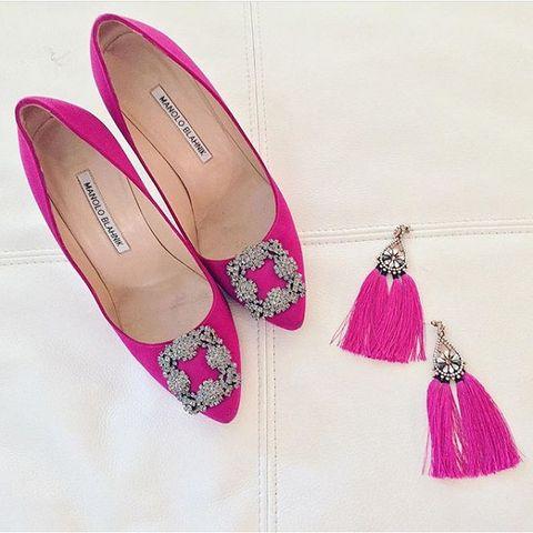 Footwear, Pink, Shoe, Ballet flat, High heels, Magenta, Espadrille,