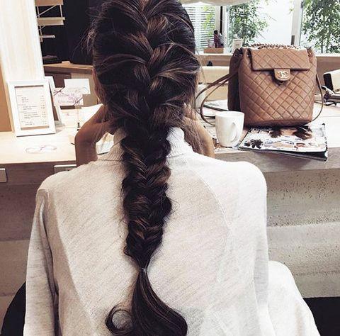 Hair, Hairstyle, Long hair, Beauty, Brown hair, Braid, Chignon, Black hair, Back, Neck,