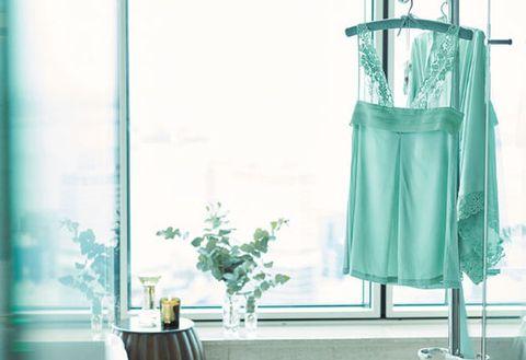 Green, Turquoise, Aqua, Blue, Yellow, Dress, Room, Curtain, Textile, Interior design,
