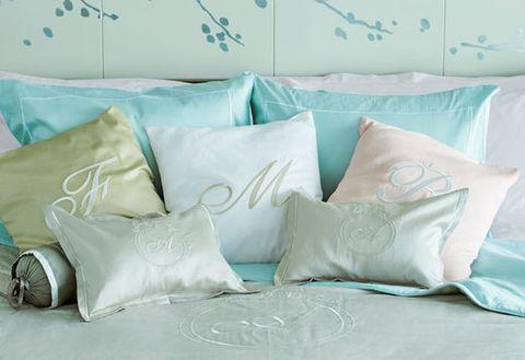 Pillow, Throw pillow, Cushion, Aqua, Bedding, Furniture, Turquoise, Bed sheet, Product, Textile,