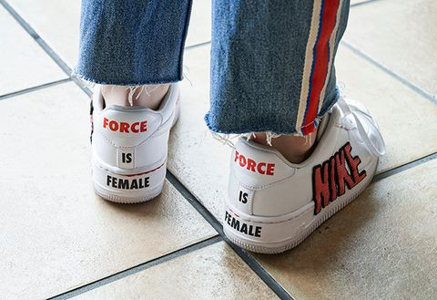 Footwear, White, Shoe, Jeans, Ankle, Floor, Sportswear, Flooring, Leg, Denim,