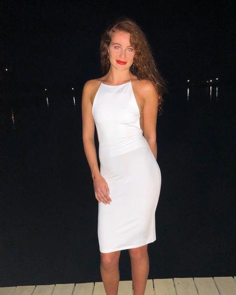 Clothing, White, Dress, Fashion model, Cocktail dress, Fashion, Shoulder, Neck, Sheath dress, Arm,