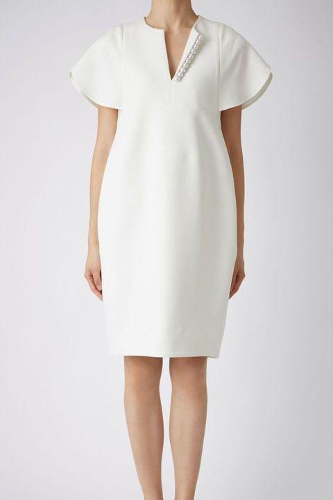 Clothing, White, Dress, Day dress, Sleeve, Neck, Sheath dress, Shoulder, Cocktail dress, Fashion model,
