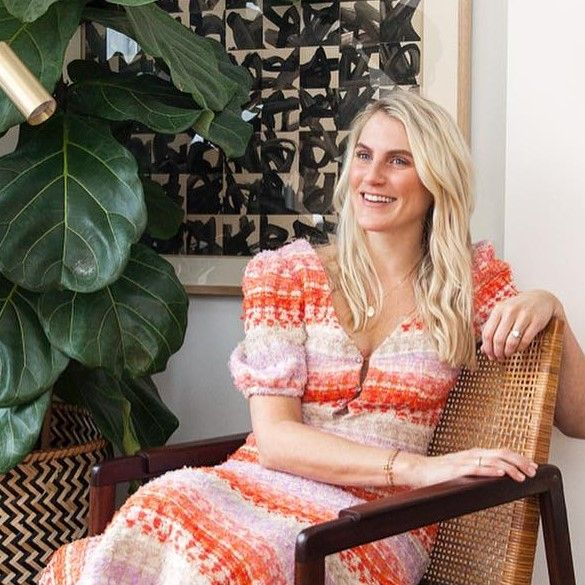 Blond, Sitting, Pink, Dress, Room, Furniture, Textile, Photo shoot, Photography, Plant,