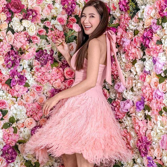 Pink, Dress, Clothing, Beauty, Shoulder, Spring, Cocktail dress, Strapless dress, A-line, Petal,
