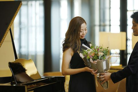 Photograph, Yellow, Dress, Pianist, Ceremony, Event, Photography, White-collar worker, Floral design, Flower,