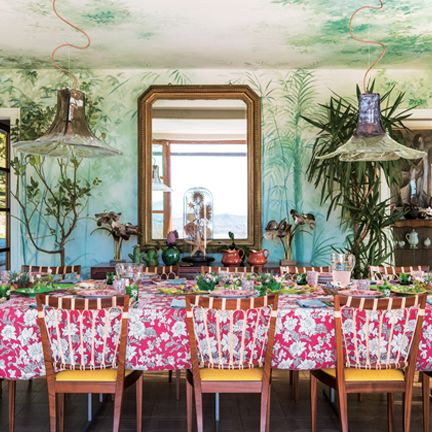 Dining room, Room, Pink, Furniture, Table, Interior design, Chair, Textile, Party, Tablecloth,