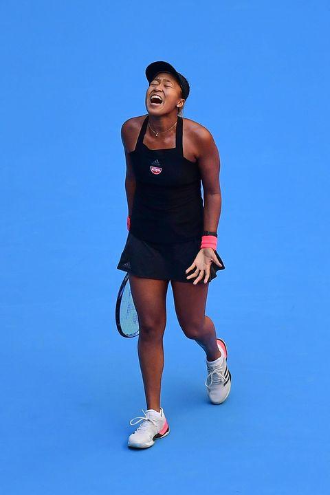 Tennis, Blue, Racquet sport, Tennis player, Arm, Shoulder, Joint, Muscle, Sportswear, Individual sports,