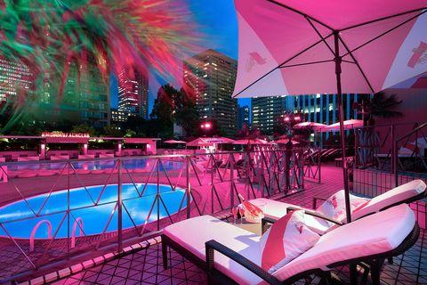 Pink, Lighting, Magenta, Architecture, Stage, Leisure, Building, Interior design, Night, City,