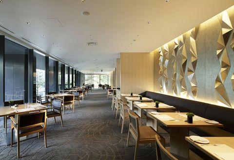 Building, Interior design, Room, Architecture, Restaurant, Table, Ceiling, Furniture, Lobby, Floor,