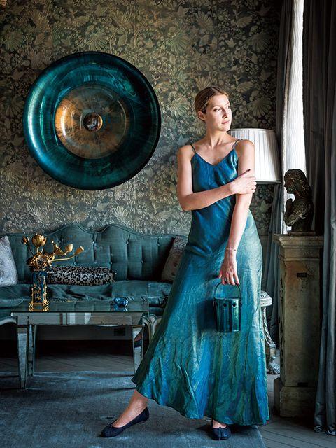 Blue, Beauty, Turquoise, Dress, Fashion, Photo shoot, Haute couture, Photography, Fashion design, Formal wear,