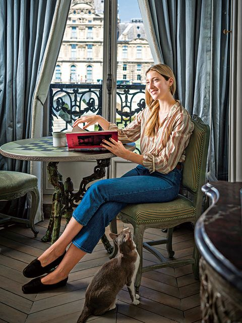 Sitting, Fashion, Canidae, Leg, Companion dog, Room, Photography, Fawn, Vacation, Window,