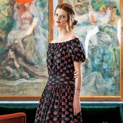 Clothing, Dress, Beauty, Fashion, Art, Painting, Room, Fashion design, Pattern, Textile,