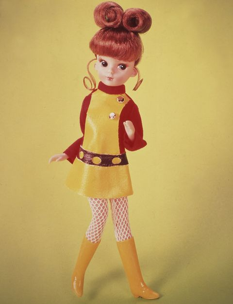 Doll, Toy, Yellow, Pink, Fashion design, Brown hair, Vintage clothing, Wig, Retro style, Illustration,