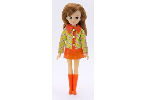 Doll, Clothing, Toy, Orange, Yellow, Wig, Fashion design, Brown hair, Outerwear, Long hair,