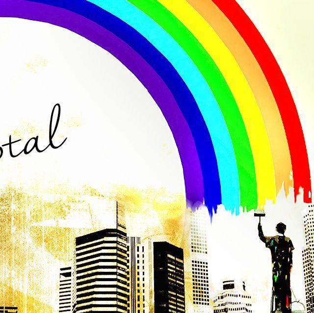 Colorfulness, Font, Magenta, Arch, Violet, Metropolis, Tower block, Rainbow, Cityscape, Graphic design,