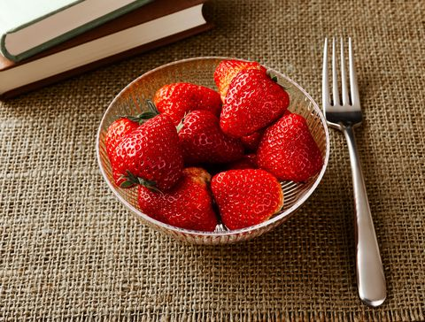 Food, Strawberry, Strawberries, Red, Fruit, Berry, Spoon, Dish, Cuisine, Plant,