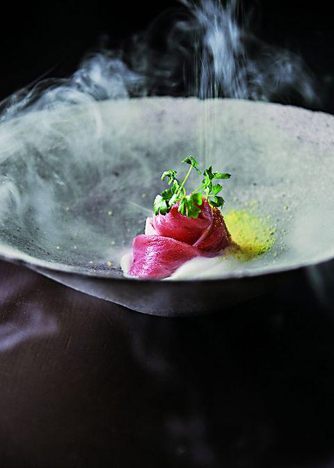 Food, Dish, Cuisine, Garnish, Crudo, Still life photography, Sashimi, Salt-cured meat, À la carte food, Recipe,