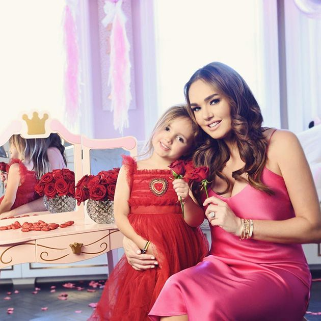 Facial expression, Pink, Red, Dress, Skin, Beauty, Child, Gown, Formal wear, Fashion,