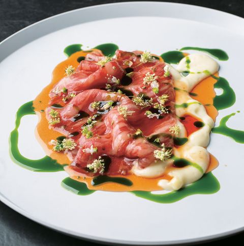 Dish, Cuisine, Food, Ingredient, Smoked salmon, Meat, Carpaccio, Recipe, Produce, Salad,