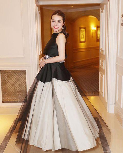 Clothing, Gown, Dress, White, Shoulder, Black, Bridal party dress, Wedding dress, Fashion model, Formal wear,