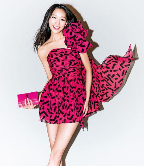 Dress, Sleeve, Shoulder, Magenta, One-piece garment, Pink, Pattern, Cocktail dress, Formal wear, Day dress,