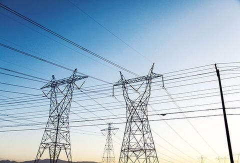 Overhead power line, Transmission tower, Sky, Electricity, Cable, Wire, Tower, Electrical supply, Electrical network, Line,