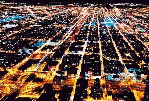 Urban area, City, Metropolitan area, Night, Aerial photography, Line, Amber, Metropolis, Bird's-eye view, World,