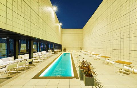 Architecture, Swimming pool, Building, Leisure centre, Leisure, Design, Real estate, Facade, Hotel, City,