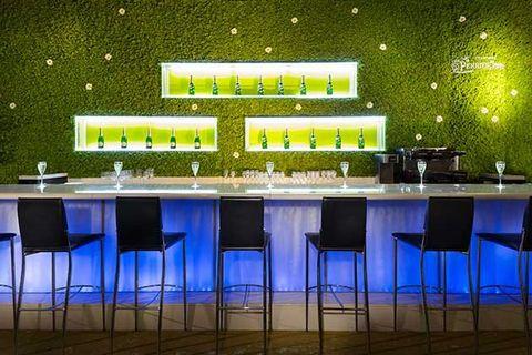 Green, Lighting, Table, Furniture, Design, Room, Interior design, Architecture, Restaurant, Building,