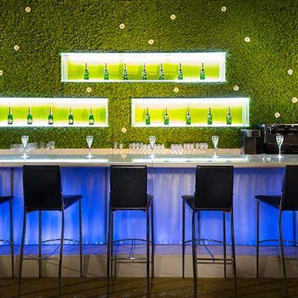 Green, Lighting, Table, Furniture, Design, Interior design, Room, Architecture, Restaurant, Building,