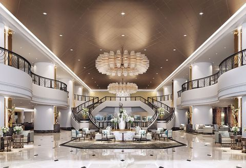 Interior design, Ceiling, Lobby, Building, Lighting, Room, Architecture, Light fixture, Chandelier, Interior design,