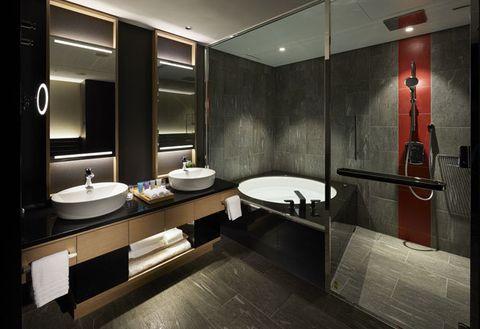 Bathroom, Room, Interior design, Property, Building, Architecture, Tile, Sink, Plumbing fixture, Furniture,