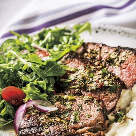 dish, cuisine, food, flat iron steak, steak, ingredient, rib eye steak, steak au poivre, pork chop, meat,
