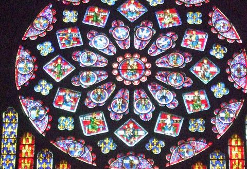 Stained glass, Glass, Window, Pattern, Visual arts, Place of worship,