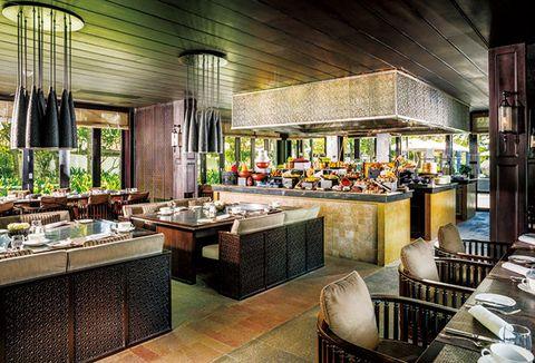 Building, Interior design, Countertop, Room, Restaurant, Furniture, Architecture, Ceiling, Kitchen, House,