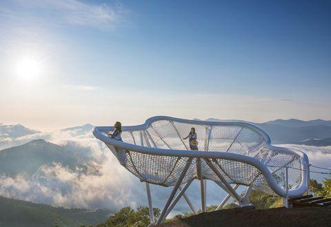Sky, Mountain, Mountainous landforms, Cloud, Mountain range, Hill station, Tree, Leisure, Tourism, Alps,