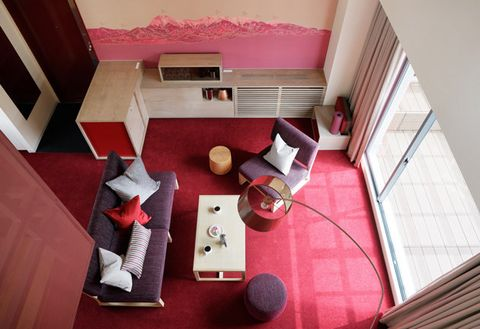 Pink, Red, Room, Interior design, House, Architecture, Design, Floor, Material property, Dollhouse,