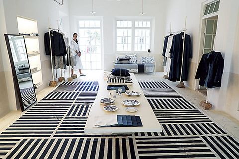 Room, Black-and-white, Floor, Interior design, Property, Furniture, Table, Building, Flooring, Monochrome photography,