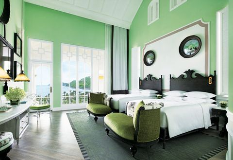 Green, Room, Furniture, Bedroom, Interior design, Property, Building, Bed, Ceiling, Bed frame,