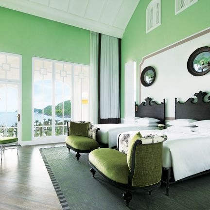 Green, Room, Furniture, Interior design, Bedroom, Property, Building, Bed, Ceiling, Wall,