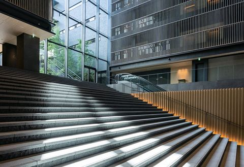 Architecture, Stairs, Line, Building, Daytime, Handrail, Urban area, Facade, Metropolitan area, Real estate,