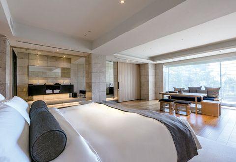 Bedroom, Room, Furniture, Property, Interior design, Bed, Building, Suite, Bed frame, Ceiling,