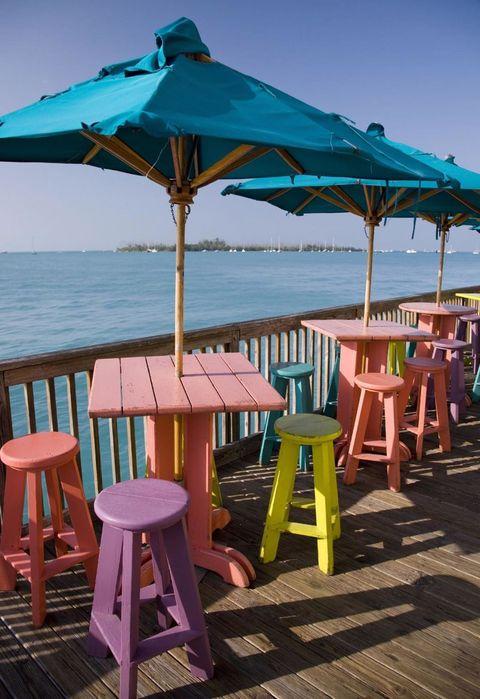 Outdoor furniture, Furniture, Outdoor table, Teal, Turquoise, Shade, Azure, Ocean, Aqua, Beach,
