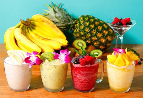 Food, Pineapple, Drink, Fruit salad, Smoothie, Fruit, Cocktail garnish, Health shake, Ananas, Non-alcoholic beverage,