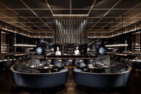 Room, Restaurant, Architecture, Building, Photography, Interior design, Cookware and bakeware, Metal,