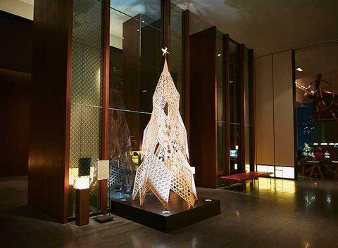 Architecture, Tree, Lighting, Lobby, Interior design, Christmas decoration, Christmas, Design, Room, Christmas tree,