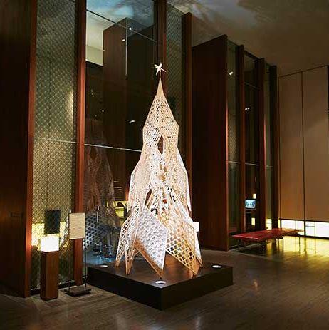 Tree, Christmas decoration, Architecture, Lighting, Lobby, Interior design, Christmas tree, Christmas, Design, Room,