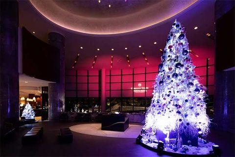 Christmas tree, Christmas decoration, Tree, Christmas, Light, Lighting, Purple, Architecture, Christmas lights, Sky,