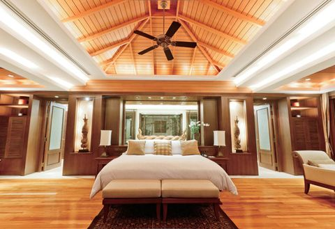 Ceiling, Room, Furniture, Interior design, Property, Bedroom, Building, Bed, Lighting, Floor,